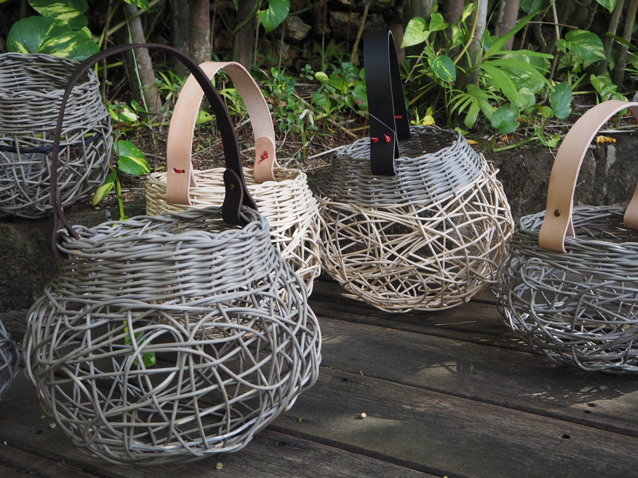 Weaving Woven Basket with Leather Handle - Tourism Canberra